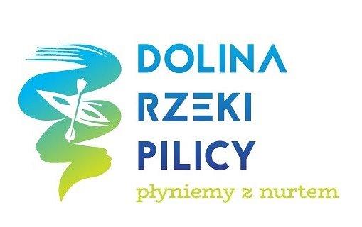 Logotyp Doliny rzeki Pilicy wraz zhasłem: płyniemy znurtem