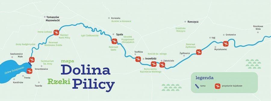 Mapka poglądowa obszaru Doliny rzeki Pilicy wpowiecie tomaszowskim
